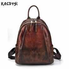 Handmade Vintage Hand Colored Women Backpack Vegetable Tanned Leather  Modern Stylish Daypack Leisure School Bags Travel b74a268daf