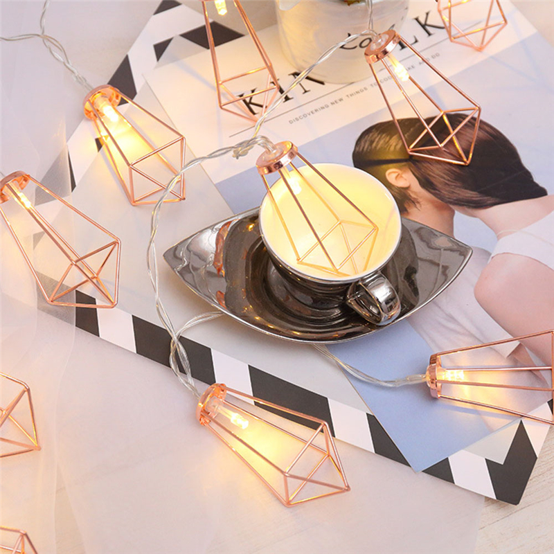 10LED Warm White String Lights Rose Gold Metal Diamond String Fairy Light Christmas Wedding Lamp New Year Decoration