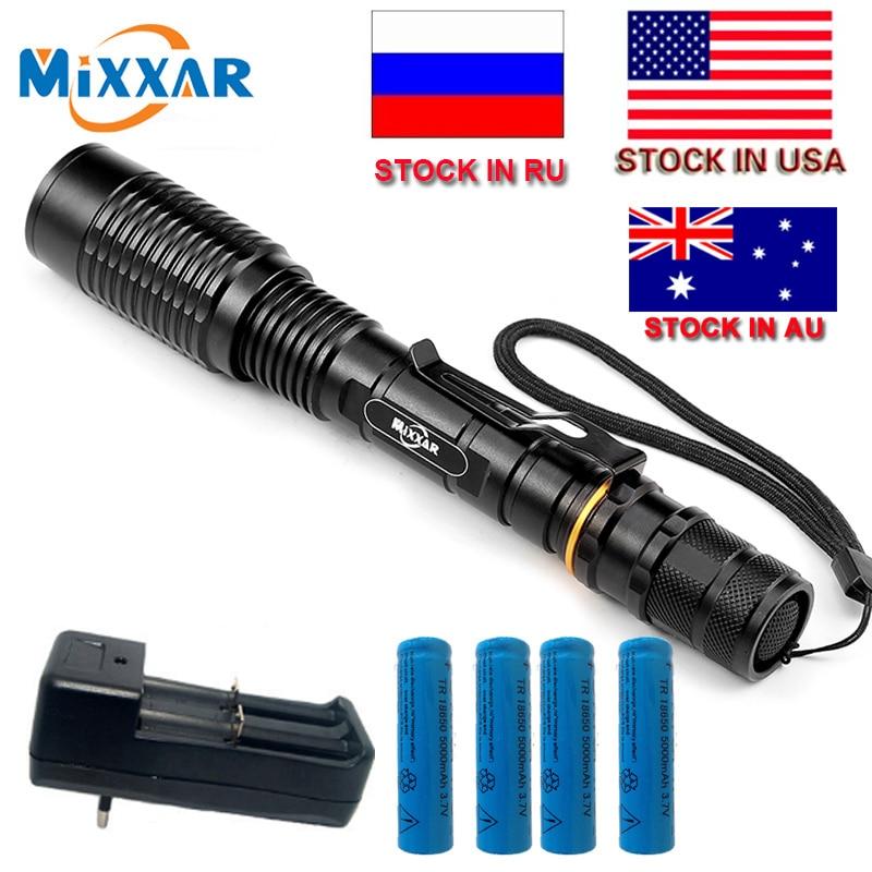 C mixxar V5 T6 8000 lúmenes LED linterna 5-Modos antorcha ajustable luz adecuada dos 5000 mAh baterías telescópica lámpara