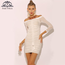 Parthea Women Summer Dress 2018 Bodycon Sexy Dress Off Shoulder Ruched Sheer  Mesh White Dress Party Club Mini Dresses Vestidos 7f33ae3ccc68