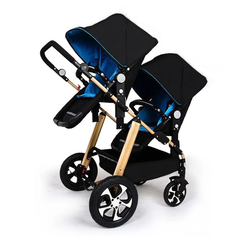 Safety KDS twins strollers 0-4 years used light twin prams with 5 point seat belt big space twins prams for children 0 4 years baby carrinho for twin with all cover sun canopy oxford fabric twin baby carrier