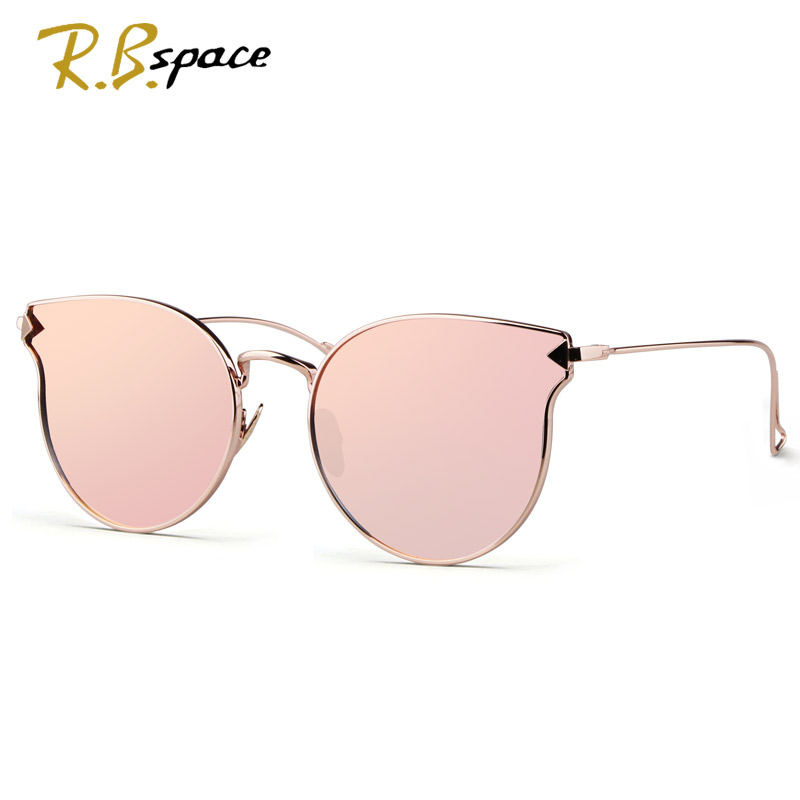 RBspaceFashion Sunglasses Women Cat Eye Sunglasses Famous Lady Brand Designer Twin-Beams Sunglasses Coating Mirror Glasses UV400