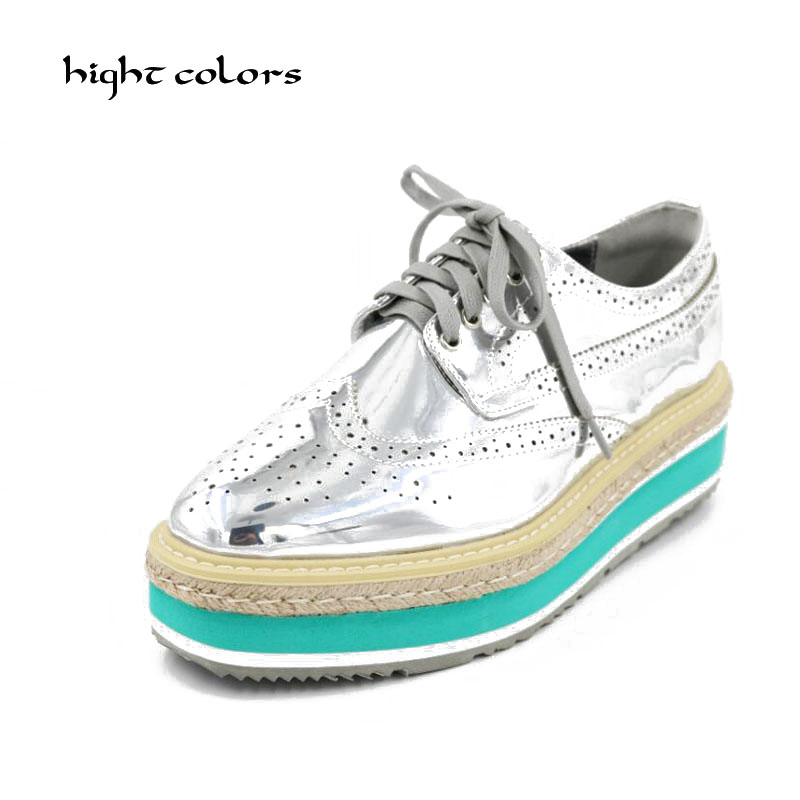 2018 Women Platform Oxfords Brogue Flats Shoes Patent Leather Lace Up Pointed Toe Luxury Brand BLUE BLACK SILVER GOLD Creepers ramsey tile floors – installing maintaining and repairing paper only