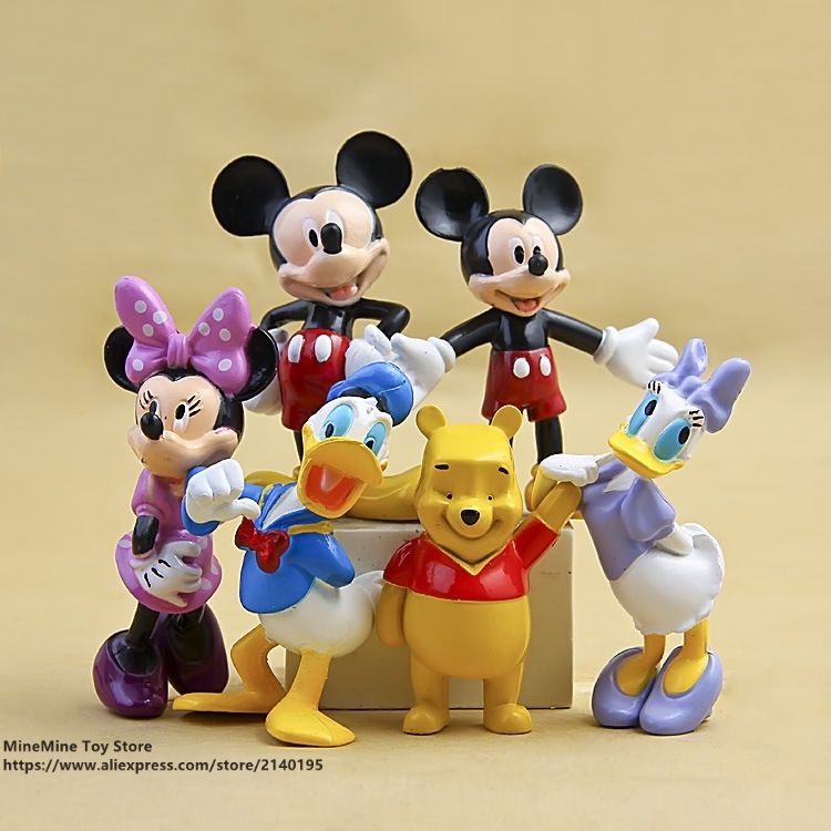 ZXZ Mickey Mouse Minnie Donald Duck 6pcs/set 8cm Action Figure Posture Anime Decoration Collection Figurine Toy model gift