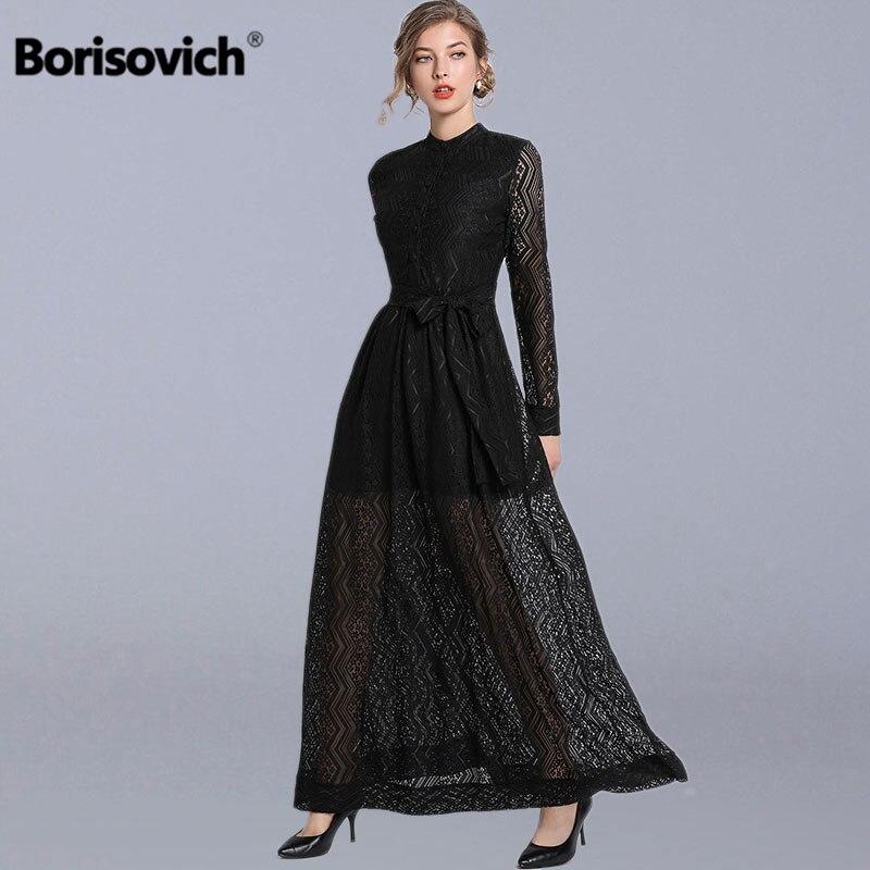 Borisovich femmes noir dentelle longue robe nouvelle marque 2019 printemps mode Vintage grand Swing élégant a-ligne dames robes de fête N769