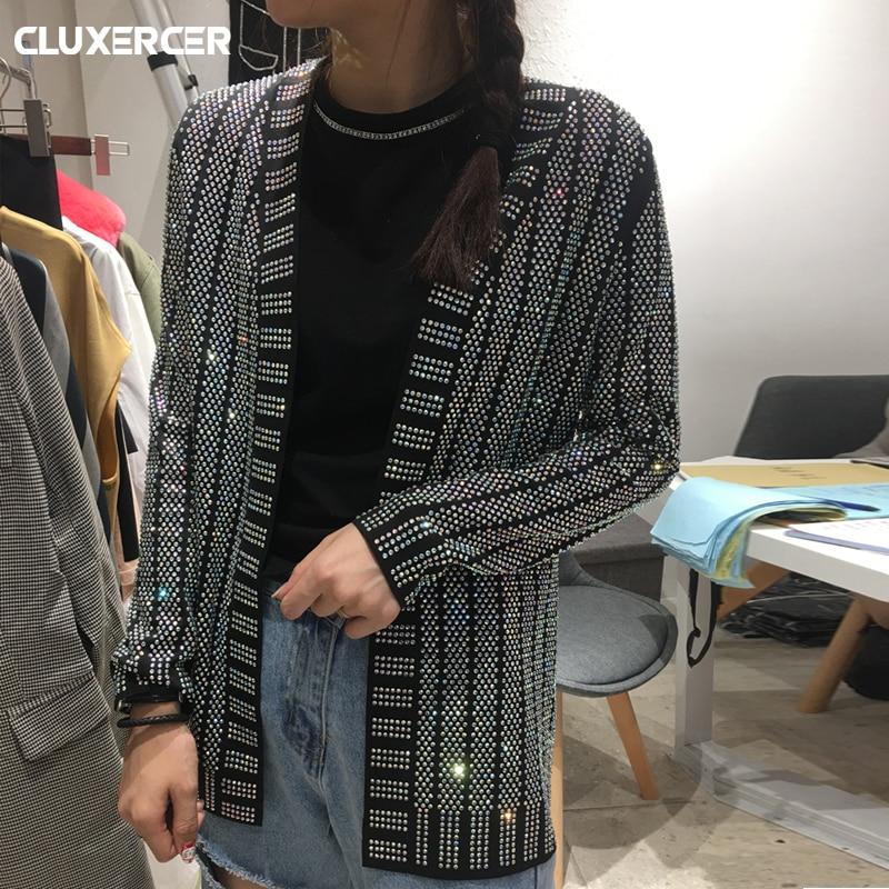 HOHE QUALITÄT Diamanten Jacke frauen 2018 NEUE Pullover jacke frauen V-ausschnitt Luxus Bling Diamanten Perlen jacke casaco feminino