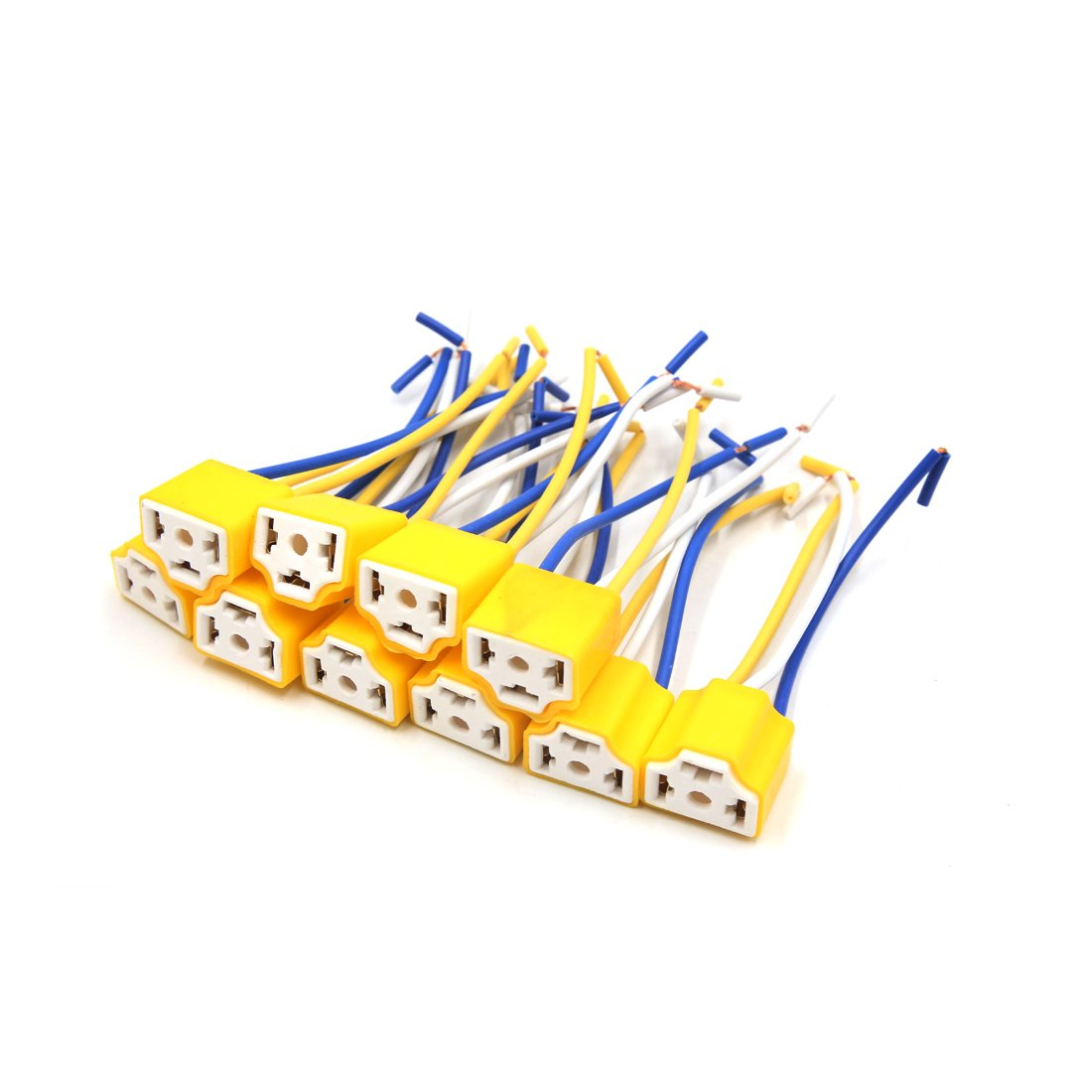 uxcell 10pcs Ceramic Car <font><b>H4</b></font> Headlight Fog <font><b>Lamp</b></font> Wiring Harness <font><b>Socket</b></font> Connector 12V-36V image