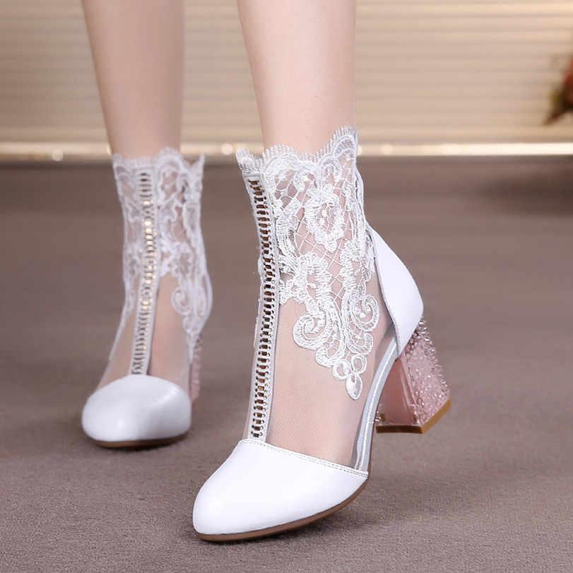 GKTINOO/Женская обувь весенне-летние модные ботинки из натуральной коровьей кожи на шнуровке ботинки до середины икры на высоком каблуке с круглым носком обувь размера плюс