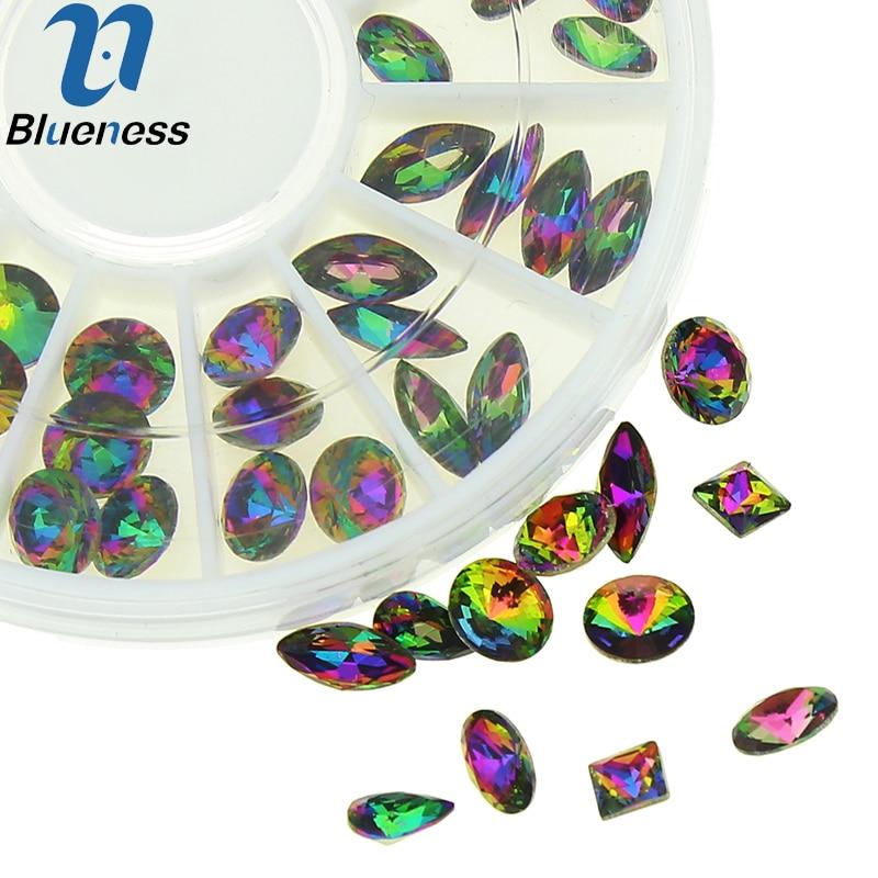 6 wzorów Glitter koła dżetów do paznokci 10 sztuk / styl 60 sztuk - Sztuka zdobienia paznokci - Zdjęcie 1