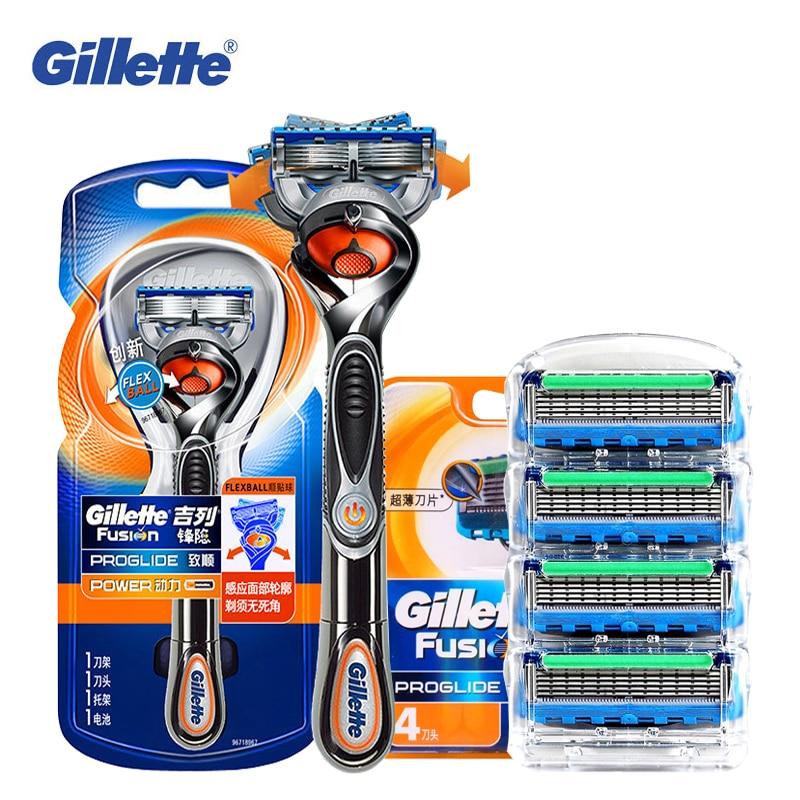 Gillette Fusion Proglide Flexball Puissance Rasoir Électrique Rasage Rasoirs Lames Sécurité Rasage Hommes Barbe Rasoir 1 Titulaire 5 Lame