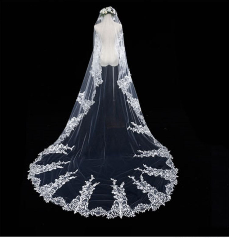 3 Meter White Ivory Cathedral Wedding Veils Long Lace Edge Wedding Accessories Bride Veu Wedding Veil