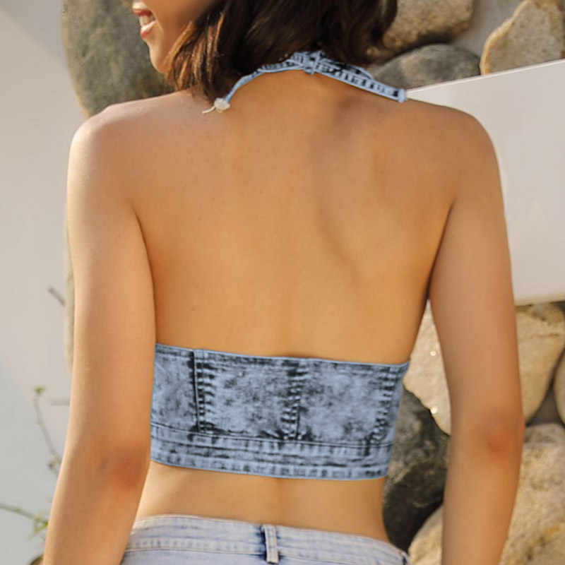 Sexy Mujer Denim verano cosecha superior 2019 nueva llegada Halter sin mangas cremallera sin espalda verano corto Jeans camiseta azul claro