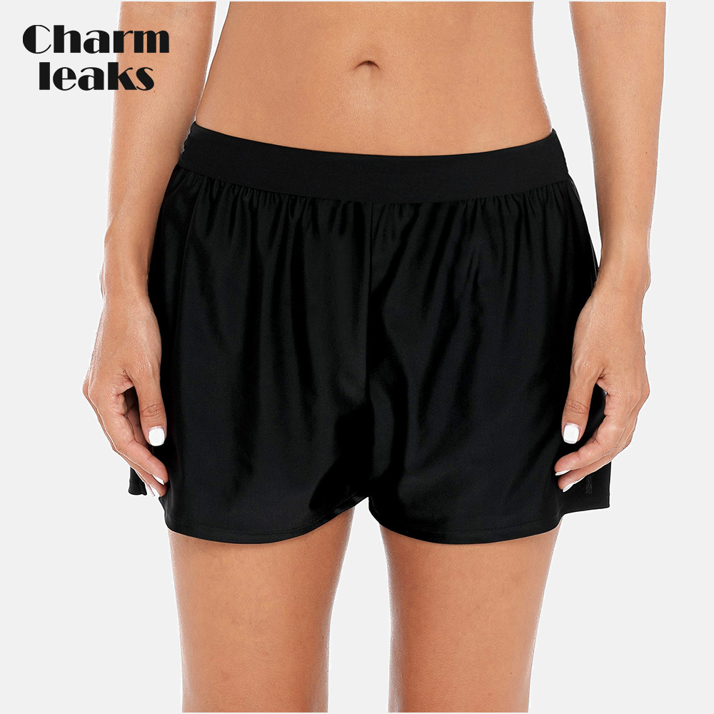 Charmleaks Senhoras Proibição de Natação Shorts Loose <font><b>Women</b></font> Fit Cor Sólida Bikini Bottom Swimwear <font><b>Briefs</b></font> Boy Shorts Dividir Sunga image