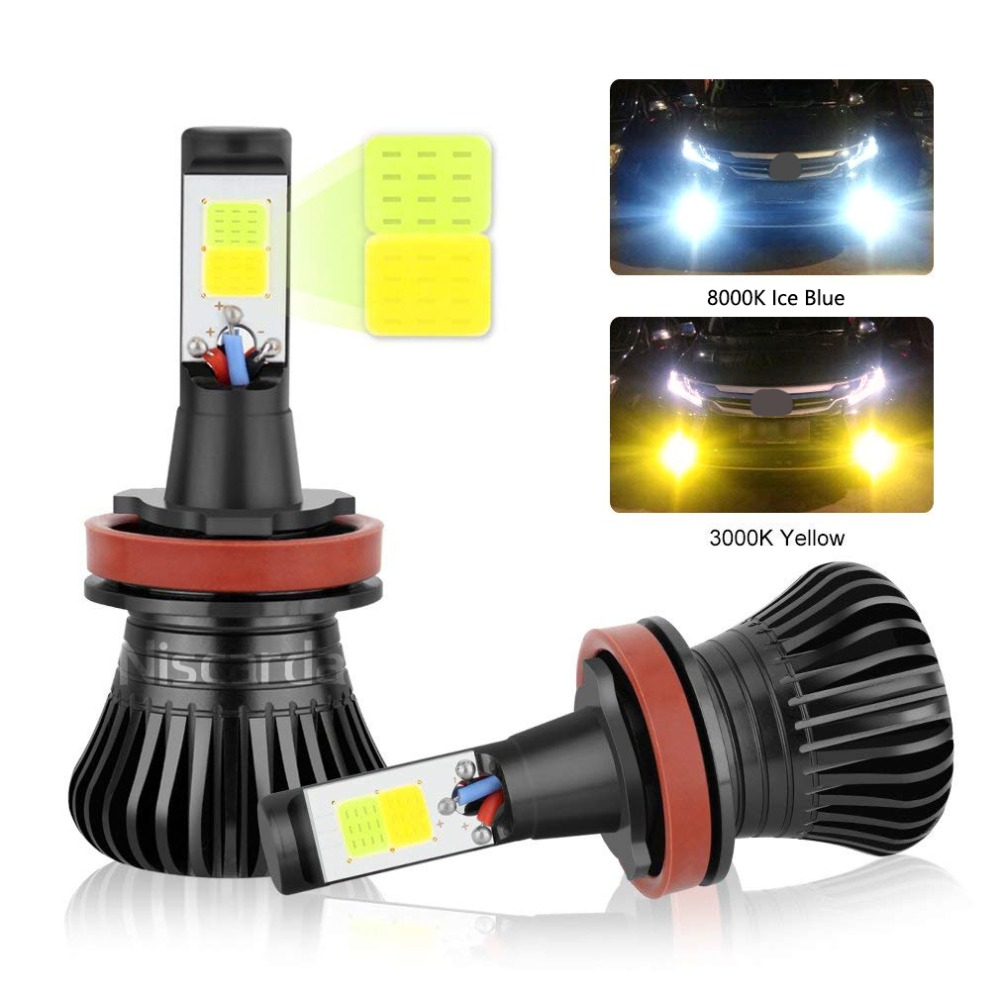 Niscarda 2X COB  H1 H4 H7 H8 H11 9005 Driving 8000K Ice Blue 3000K Amber Yellow Fog Lights Bulbs Dual Color Lamps