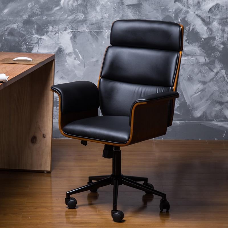 Mi siècle cuir grand et grand fauteuil de bureau exécutif avec roue Racing ergonomique en cuir inclinable bureau ordinateur chaise meubles