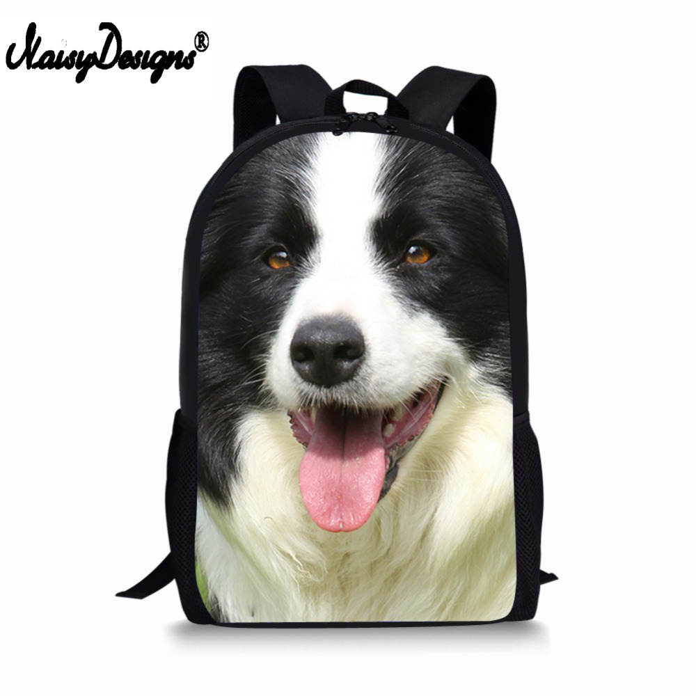 Welcom Custom Black Boder Collie Dog Head Printed Women Men Satchel Backpack for Girls Children School Bags for Boys Girl FemaleWelcom Custom Black Boder Collie Dog Head Printed Women Men Satchel Backpack for Girls Children School Bags for Boys Girl Female