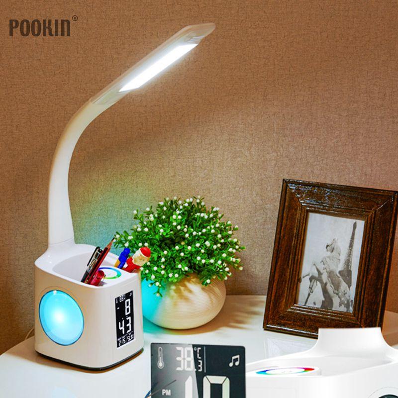 Oeil CONDUIT Protéger Dimmable Lampe de Bureau LED Pliable Table de Lecture Lampe Lumière RGB Tactile Contrôle Calendrier Alarme Horloge Lampe De Température