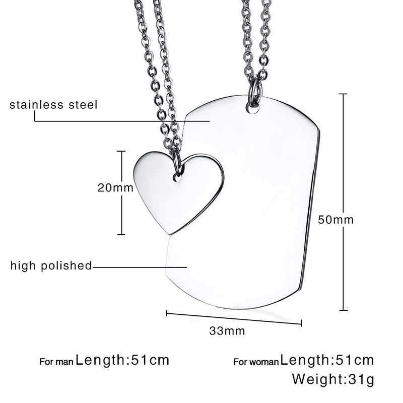Modyle Couple Necklace ID Dog Tag Heart Pendant High Polished Stainless Steel Trendy Women Men Jewelry