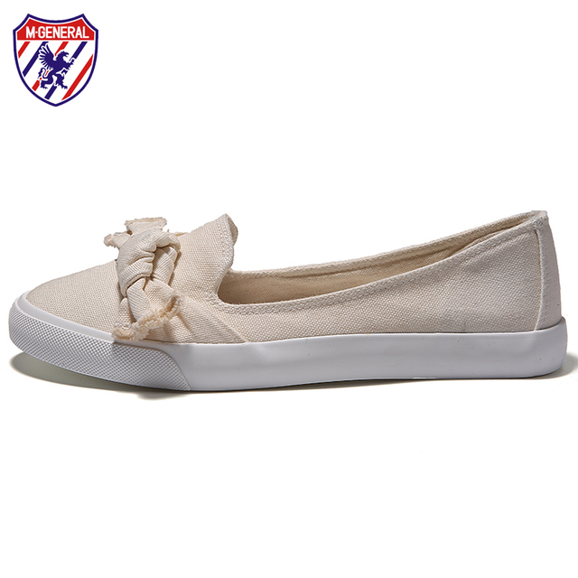 M. GENERAL Antideslizante Ecológico En Bowknot Mujeres Causales Zapatos de Lona de los Planos de Gran Tamaño Mujer Zapatillas Plantilla de Espuma de Memoria K-002