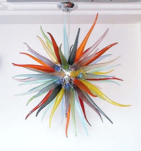 Colorful Small Modern Crystal Chandelier Light Energy Saving Source Round Shape Chihuly Style Murano Glass Art