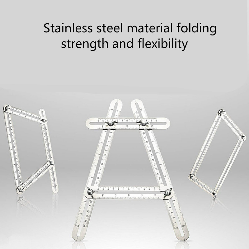 Laser Figure Multi Angle Ruler Stainless Steel Foldable Template Tool Steel Four-sided Tile Flooring Measuring Tool