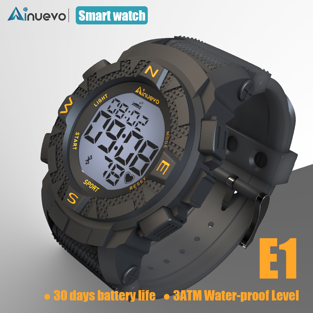 Ainuevo E1 Sport Smart Watch 2019 Man Bluetooth Swim Proof Waterproof Continuous Heart Rate Monitoring Smart Reminder умные часы smart watch y1