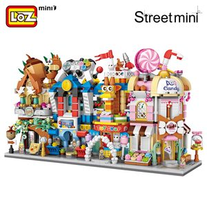 Image 2 - LOZ Mini cegły widok na miasto scena Mini Model uliczny zabawki budowlane pokój gier sklep z cukierkami sklep z zabawkami architektura dzieci DIY
