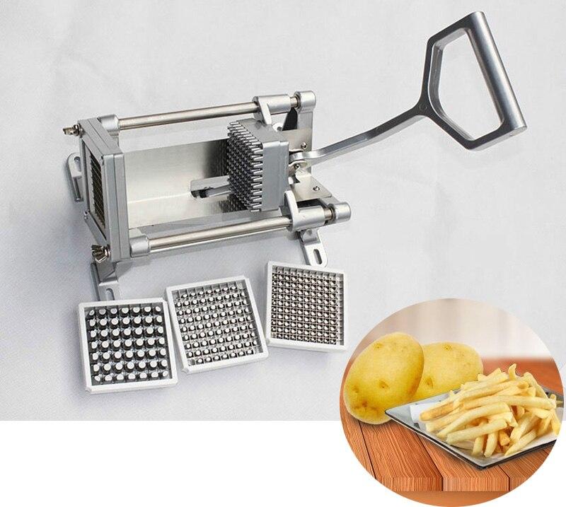 Резак для картофеля из нержавеющей стали фруктовый, овощной слайсер резак для картофеля фри инструмент машинка для чистки картофеля W/4 лезвия с 3 резаками - 2