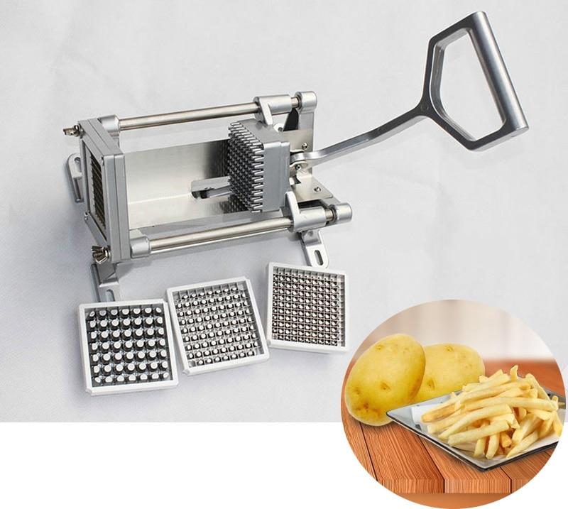 Roestvrij Staal Aardappel Cutter Fruit Groente Slicer Franse Bak Chopper Tool Aardappel Snijmachine W/4 Bladen Met 3 snijders - 2