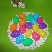 12pcs/Lot Random Color 40x60mm Easter Egg Decoration Home Kids DIY Craft Toys Gifts Empty Chocolate Box Plastic easter eggs(China)