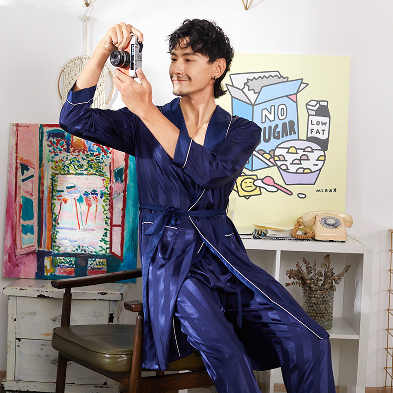 Navy Blue Men Long Sleeve 2PCS Robe&Pant Pajamas Suit Satin Casual Spring Autumn New Sleep Set Home Clothes Novelty Nightwear