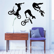 Art Home Decor Mural Jump Bike Cyclist BMX Freestyle Jumping Wall Decal Extreme Sports Wall Sticker Boys Room Vinyl