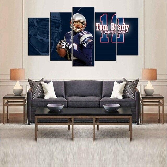 Hot New England Patriots Football Bathroom Wall Art Decor Tom Brady Gifts Housewarming Living Room