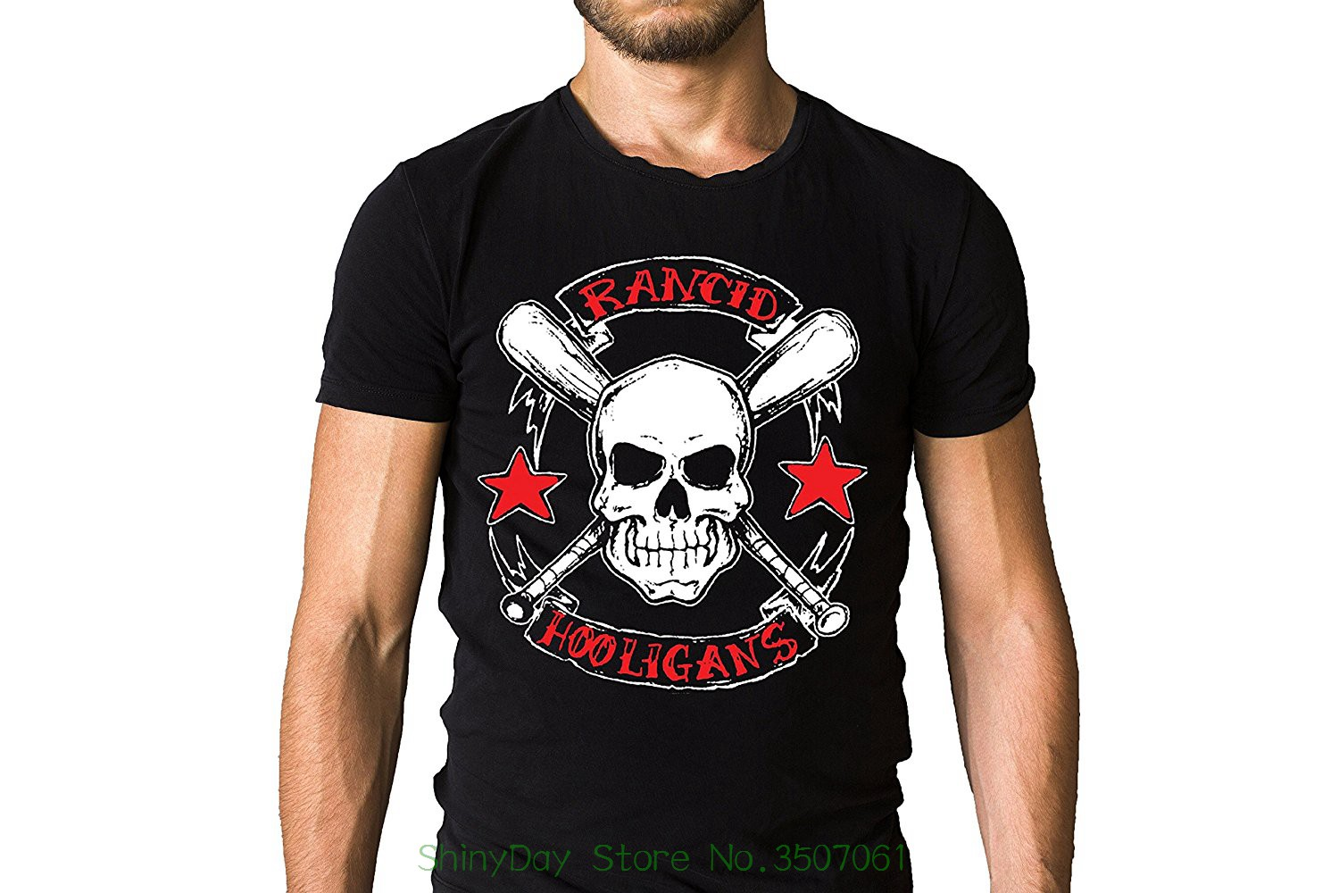 Short Sleeve Summer Style Rancid Punk Band Life Wont Wait 1998 Hooligans Song Inspired Skull Logo Black T-shirt