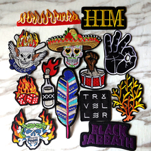 Pulaqi Skull Punk Rock patch DIY Embroidery Iron On Patches For  Vikings Clothes Sticker Hat T-shirt Overcoat Anti-War Applique