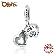 Regalo bamoer 2017 real 925 plata esterlina corazón colgante charm charms fit mujeres pulseras beads & jewelry making pas383