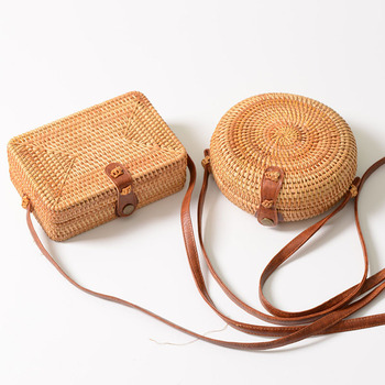 Vintage Handmade Women Rattan Bag Straw Woven Shoulder Bags Bow Holiday Beach Bohemia Crossbody Messengers Handbag round bolsa 3
