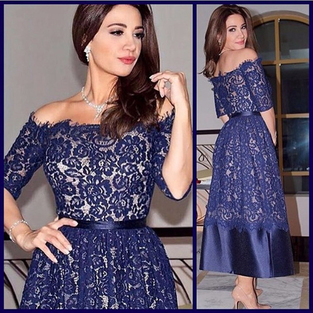 Beautiful Dark Navy Blue Lace Evening Dress With Sleeves Boat Neck