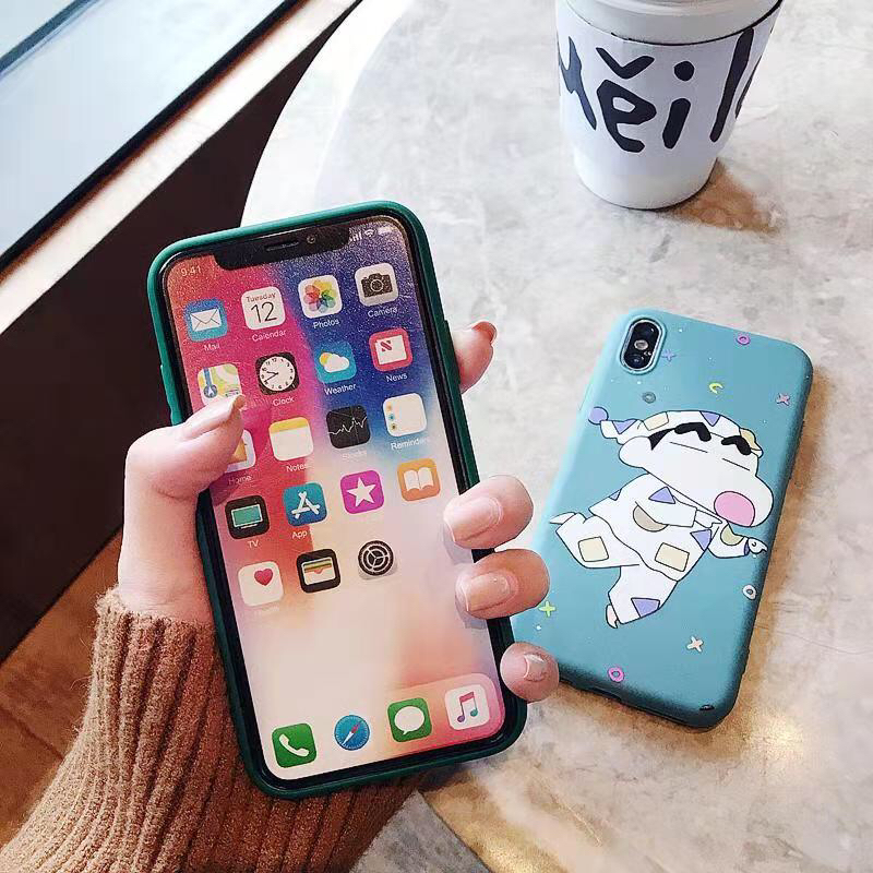 Cute Cartoon Crayon Shin chan Colored Drawing Soft TPU Case For iPhone XS XR XS MAX Case For iPhone X 6 6S 7 8 Plus Case in Fitted Cases from Cellphones Telecommunications