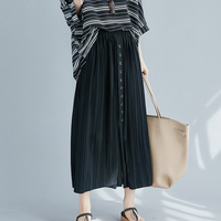 Big One Size Button Decorating Pleated Women's Skirt Casual Long Skirt Fashion Jupe Femme Pastel Saia Midi Chic Women's Clothing