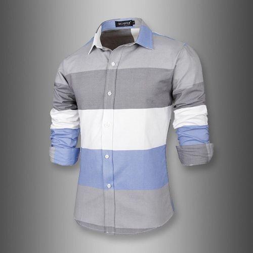 New Men's Slim Fit Multi-color Button Down Shirt Causal Cotton Shirt Long Sleeve 7619