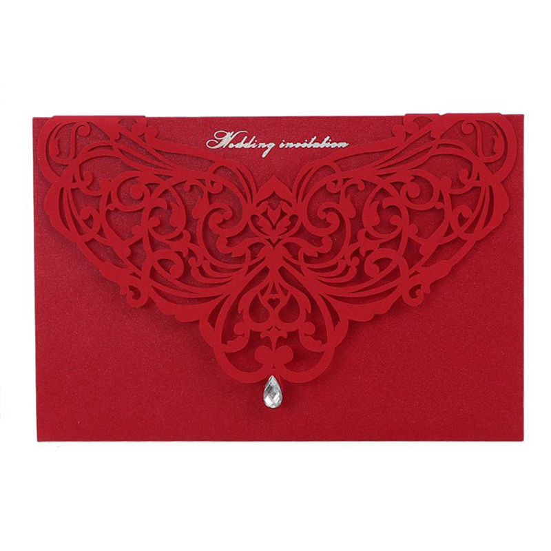 10PCS/SET Embossment Wedding Party Invitation Card Red / White With Envelopes Luxurious Hollow Out Wedding Supplies 18*13cm
