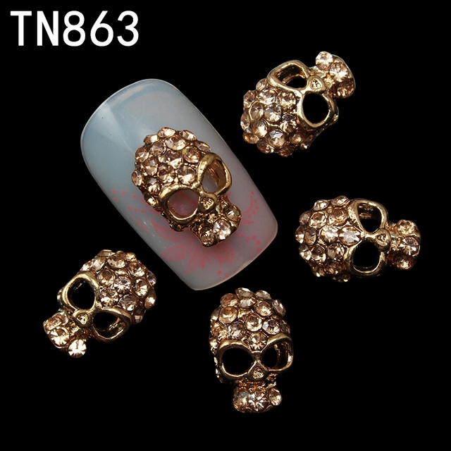 10 in a Pack Rose Gold Skull Nail Art Decorations