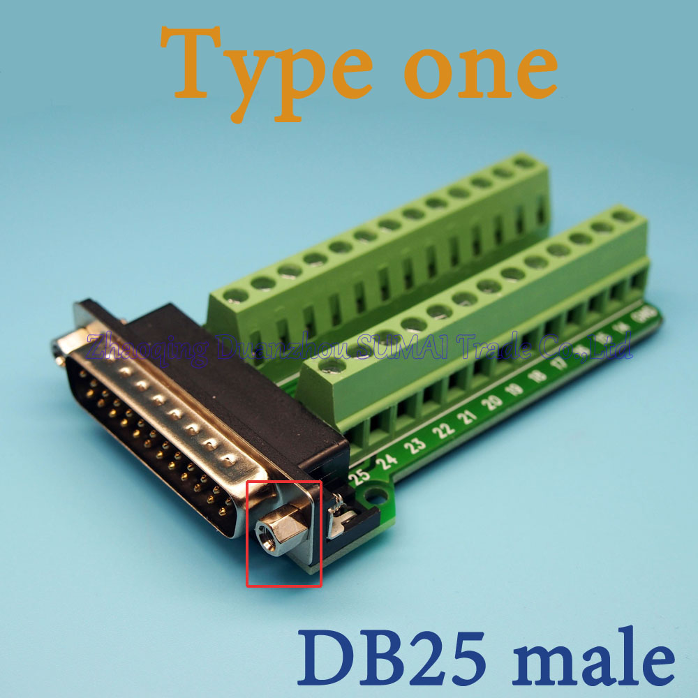 DB25 Serial port turn to wire terminals DR25 male plug turn to terminal DB25 adapter board