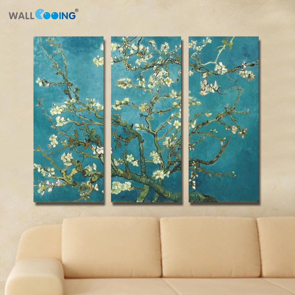 3 Panel Van Gogh Orchid Wall Art Canvas Painting Living Room Wall Poster Frames In Modular Print Cuadros Decoracion Pictures