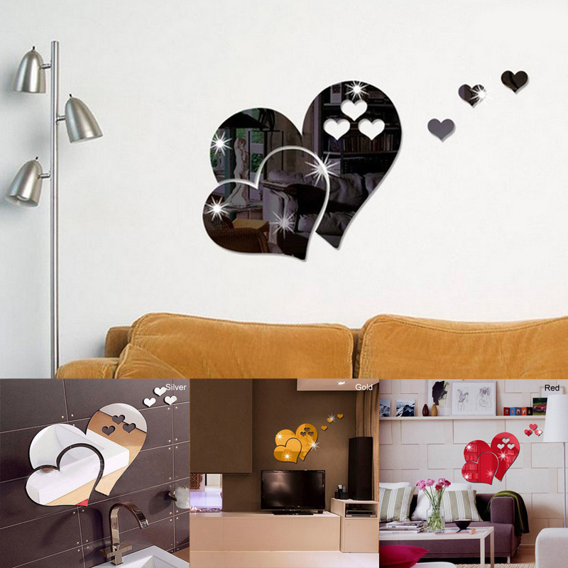 Art Mural Decor DIY Mirror Wall Stickers Party Wedding Decors 3D Mirror 3D Love Heart Removable Home Room Wall Sticker Decal-in Wall Stickers from Home & Garden on Aliexpress.com | Alibaba Group