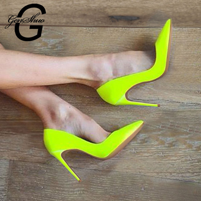 GENSHUO Fluorescent yellow High Heels Shoes Women Pumps Pointed-Toe Stiletto Heels Shoes Woman Wedding Party Shoes Size 6-12