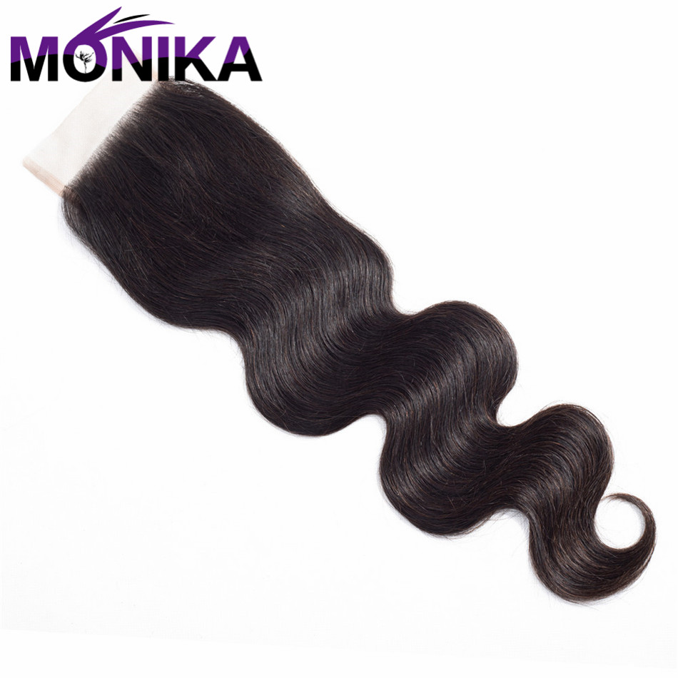 Monika Malaysia Body Wave Lace Closure With Baby Hair Non Remy Hair Natural Color 8-20 Swiss Lace 100% Human Hair