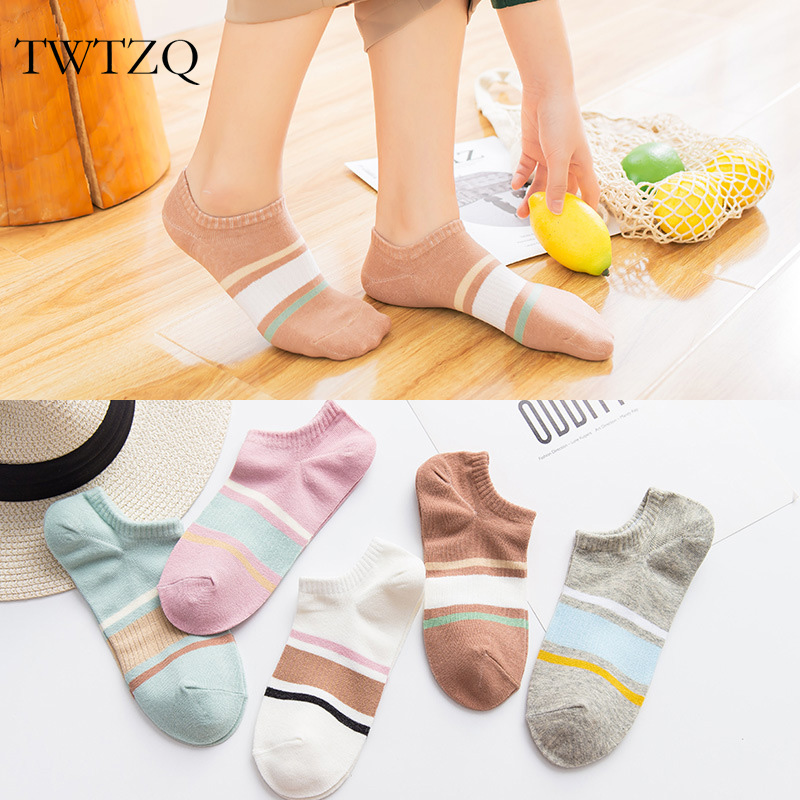 TWTZQ Women's Socks Colorful Cute Short Socks High Quality Summer Cotton Solid Color Female Socks Hosiery Meias
