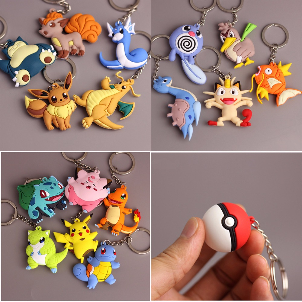 3D Anime Pokemon Go Key Ring Pikachu Keychain Pocket Monsters Key Holder Pendant Mini Charmander Squirtle Eevee Vulpix Figures japan pokemon harajuku cartoon backpack pocket monsters pikachu 3d yellow cosplay schoolbags mochila school book bag with ears